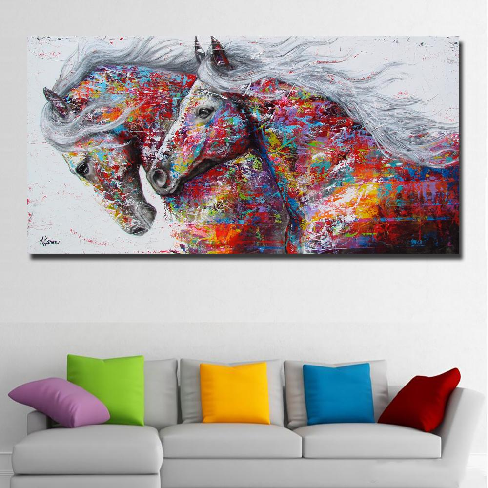 Bezinteresownie zwierząt ściennych obrazek malarstwo konia do salonu Home Decor Płótno Malowanie dwóch biegów konia Brak ramki