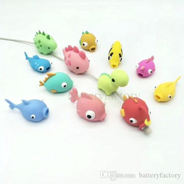 أزياء الكرتون الأسماك تصميم الهاتف المحمول شحن الحبل حامي كابل USB صغير رئيس حامل لصدمات لدغ الحيوانات كابل لكابلات الهاتف