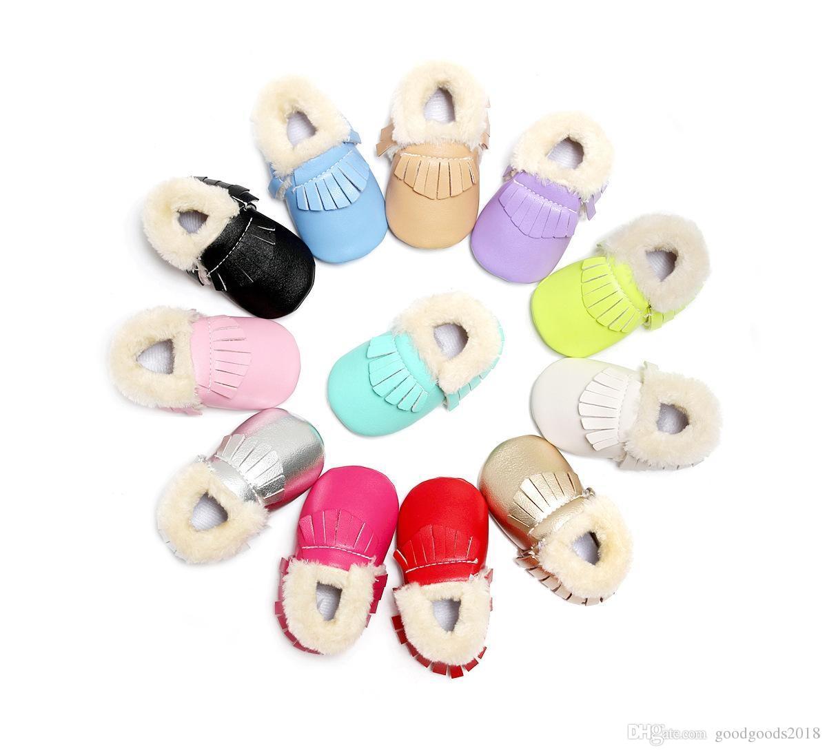 جديد شتاء دافئ حذاء طفل بو الجلود حذاء طفل الأخفاف مع الفراء الأولى ووكر أحذية الرضع شرابة الطفل c320
