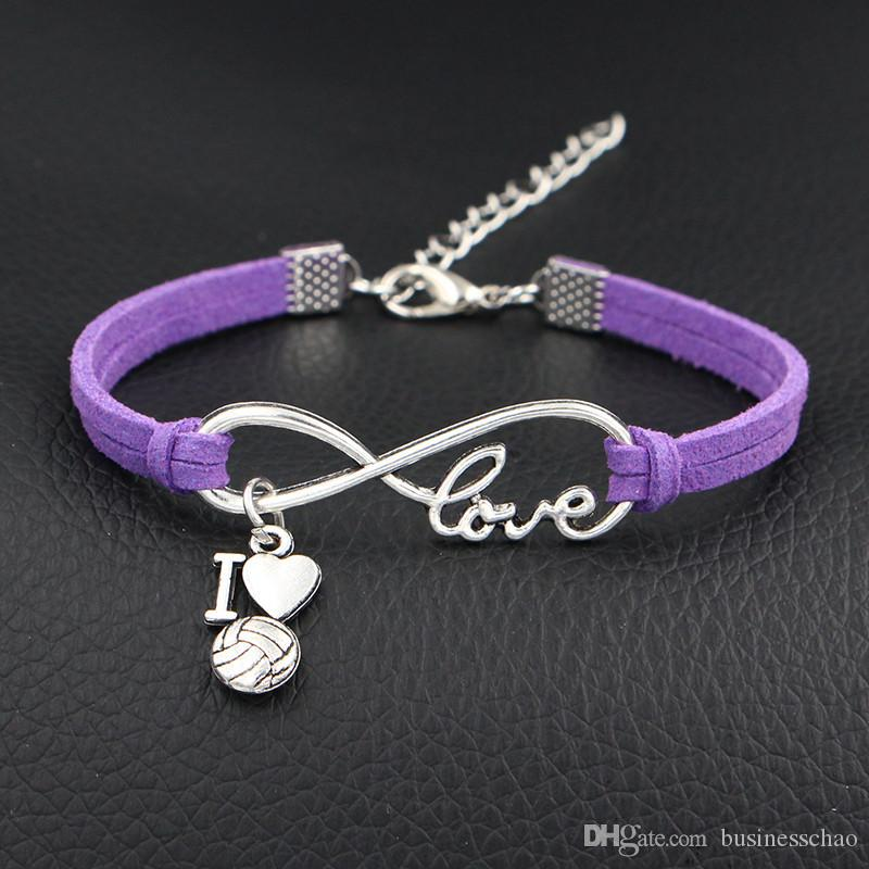 AFSHOR 2018 New Arrival I Love Volleyball Charms Bracelet Antique Silver Infinity Love Purple Leather Bracelet For Women Men Fashion Jewelry