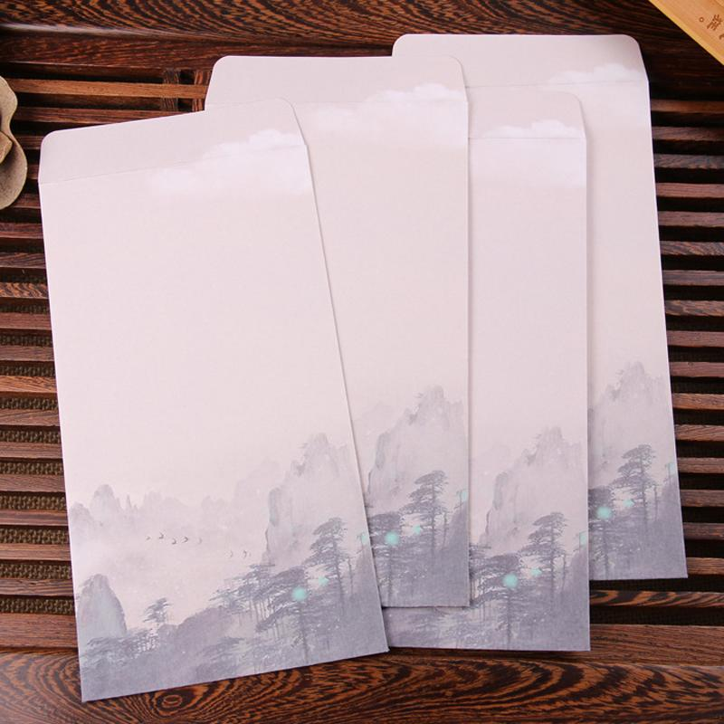 10pcs / lot 중국 스타일 비즈니스 봉투 꽃 인쇄 된 공예 종이 봉투 카드 Scrapbooking 선물 종이 손으로 그린 잉크 가방