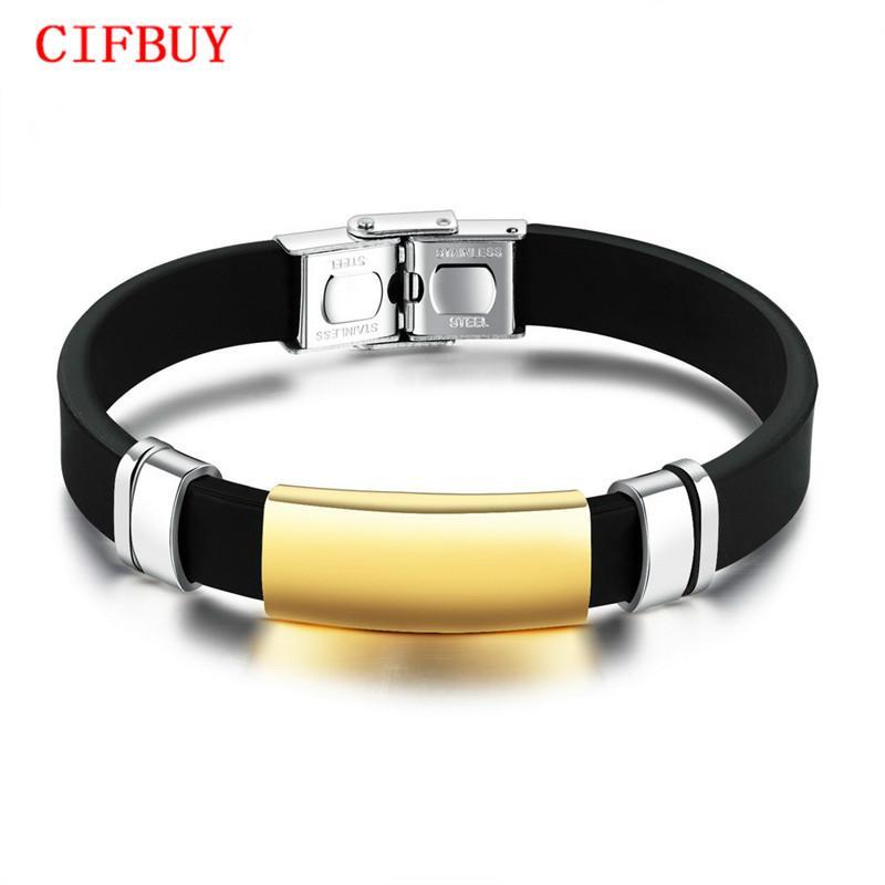CIFBUY Sport Hommes Silicone Bracelets Lisse Design Noir / Champagne Or Couleur 10 MM Largeur Longueur Réglable Mâle Cadeau PH1157