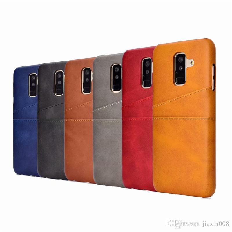 Samsung galaxy a6 a6 için pu deri coque artı 2018 case lüks arka kapak kart tutucu cep telefonu kılıfları