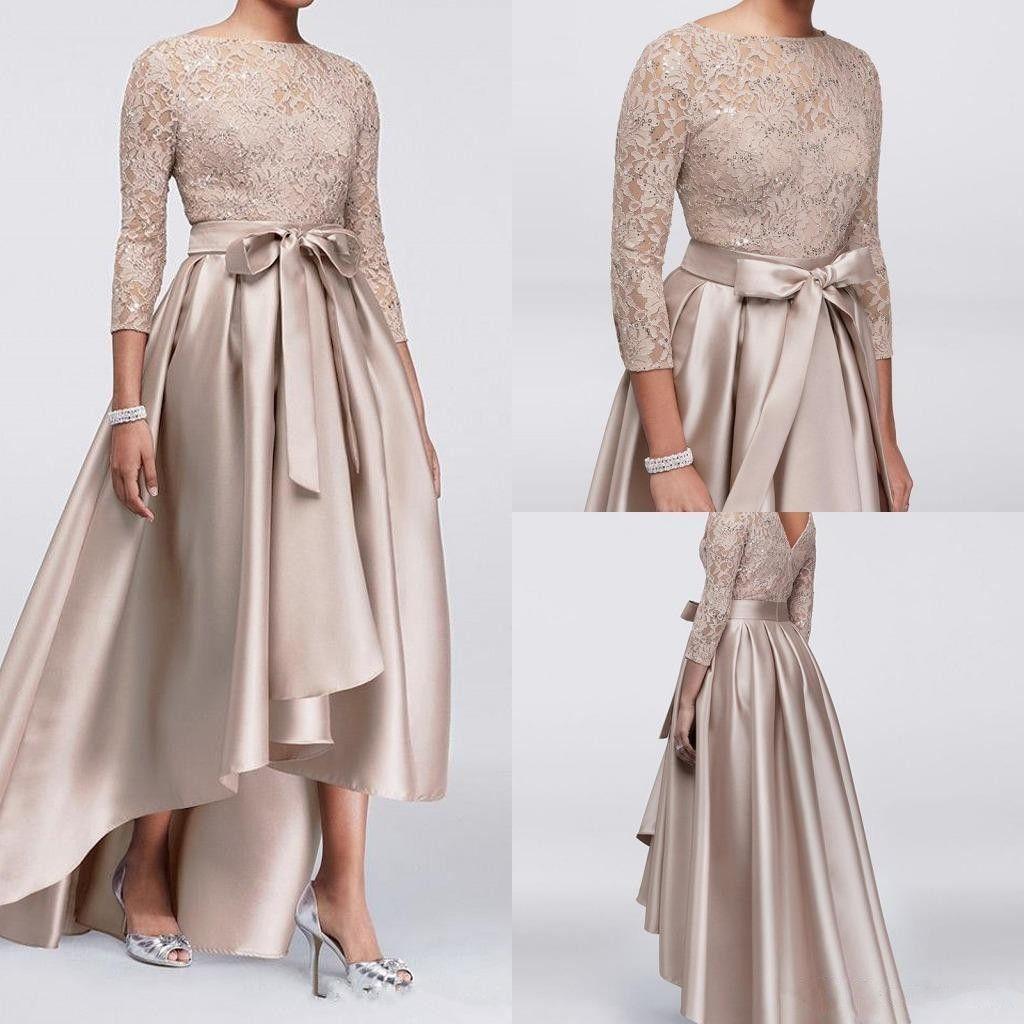 Mother Off Bride Groom Dresses Champagne Lace Applique Sequins Topp 3/4 Långärmade Satin Hög Låg Sashes Aftonklänningar