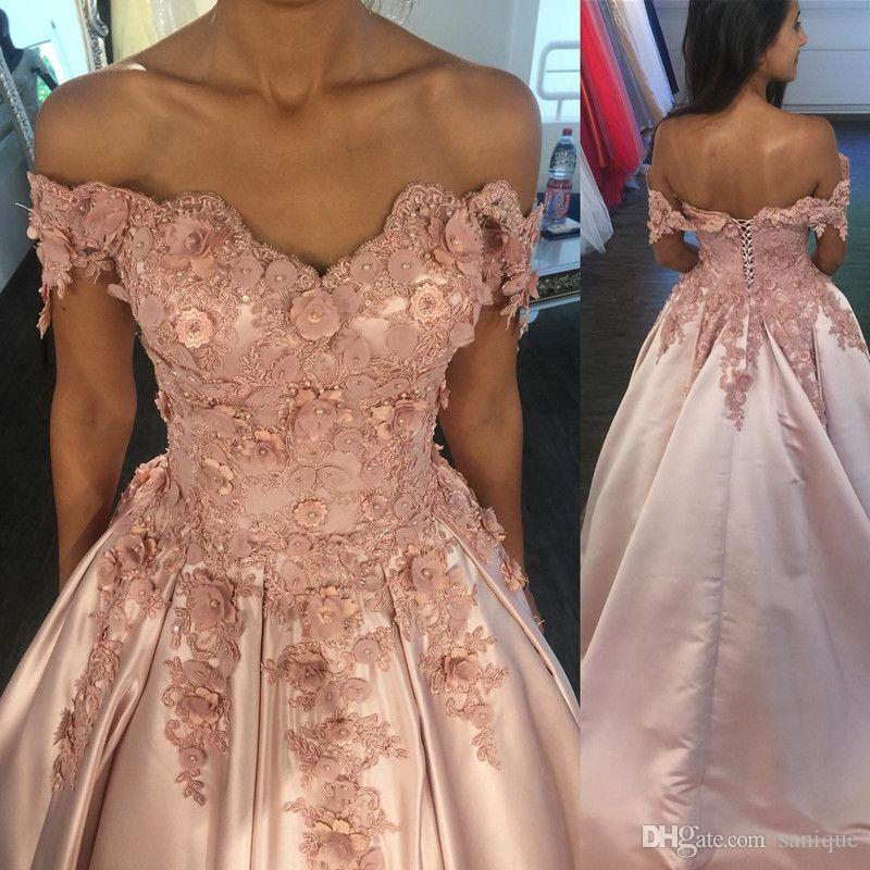 2018 Flowers Prom Dresses Off Shoulder Lace Applique Beads Pearls 3D Flowers Corset Back Court Train Satin Formal Party Wear Evening Gowns