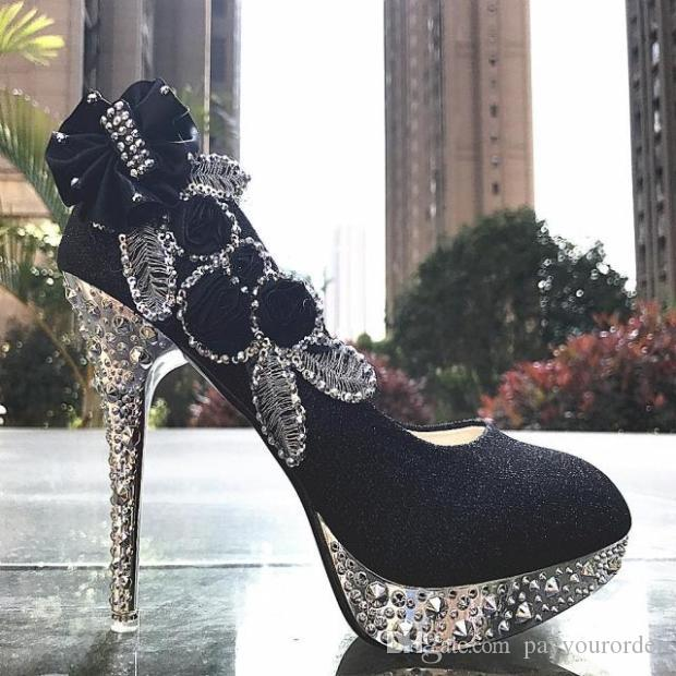 blue color new hoes PLATFORM fine GOLD crystal high-heeled shoes with white wedding shoes bride female shoe223