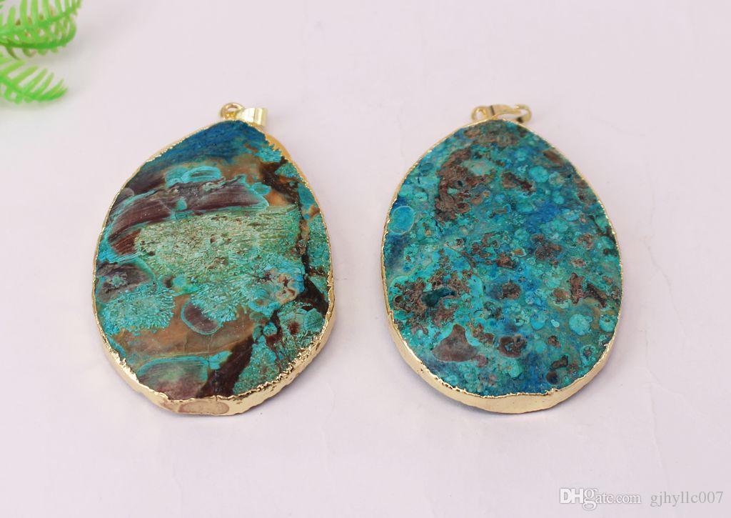 Бесплатная доставка горячие 5 шт. естественный синий цвет океана яшма раздел круглой формы кулон бусины, позолоченный разъем ожерелье ювелирных изделий