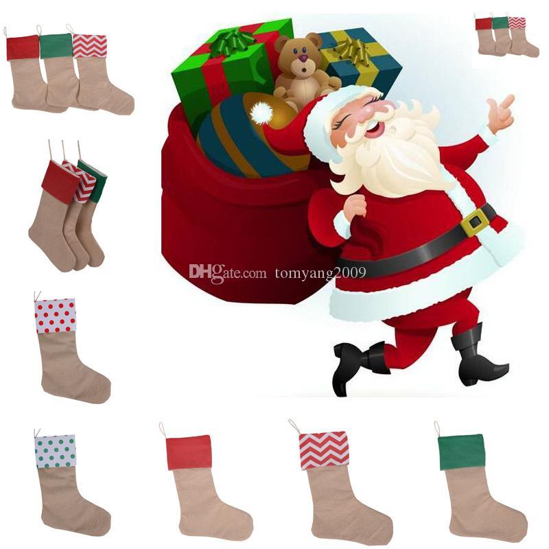 Alta Qualidade 2018 Lona de Natal Sacos De Presente Da Lona de Natal Xmas Lotação de Natal Grande Tamanho Plain Burlap Decorativa Meias Saco
