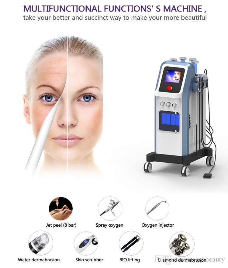 Nuevo 7 en 1 Water Hydra facial Dermabrasion limpieza de la piel Oxygen Jet BIO Lifting Facial Ultrasonido Machine hydrafacial Equipment