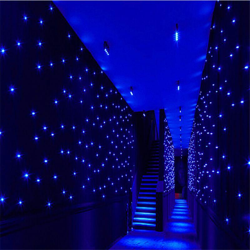 Efeitos de luz LED estrela grande Cortina 4 m * 6 m colth palco cortinas de cor Azul-Branco cor com controlador de iluminação LED Visão luz Cortina