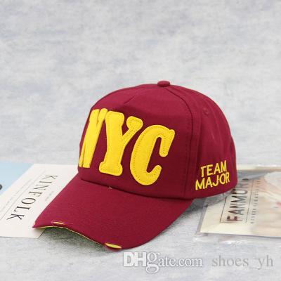 Patlama Modelleri Kore Versiyonu Unisex Logosu beyzbol şapkası ayarlanabilir kap visor NYC mektubu kap