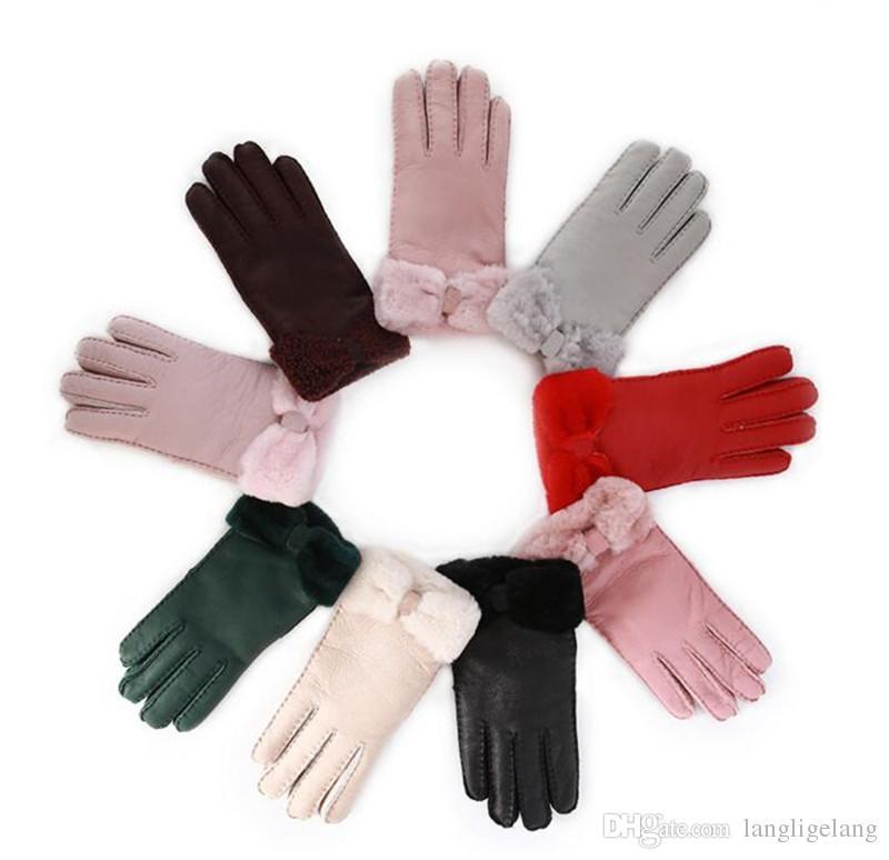 El nuevo Guantes de piel de oveja para mujer Piel de piel de alta calidad Cinco dedos Guantes Invierno Mittens calientes al aire libre a prueba de viento Color multi elección