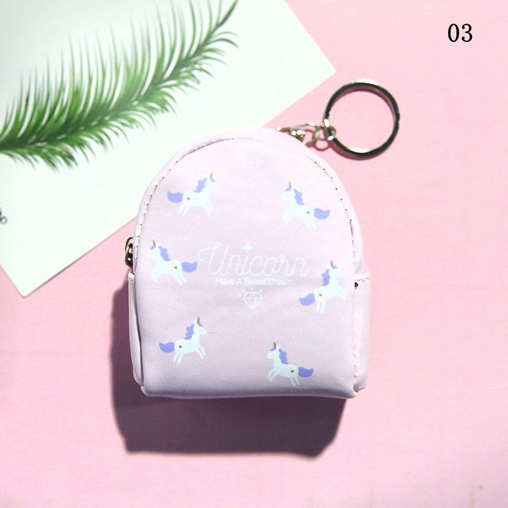 Clés Pochette Mini Portefeuille Lapin Imprimé Fermeture éclair Coin Sac à dos Licorne Porte-monnaie