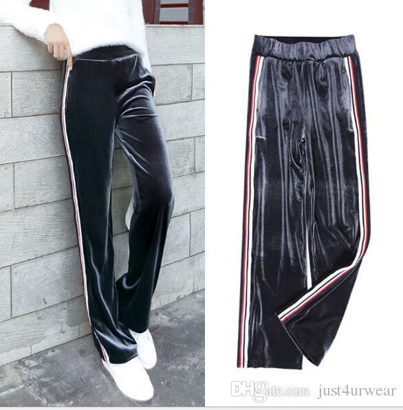 Kadın Pantolon Capris Kadın Giyim Pleuche Yan Çizgili Geniş Bacak Uzun Moda Rahat Gevşek Eşofmantaları Streetwear Yoga Pantolon