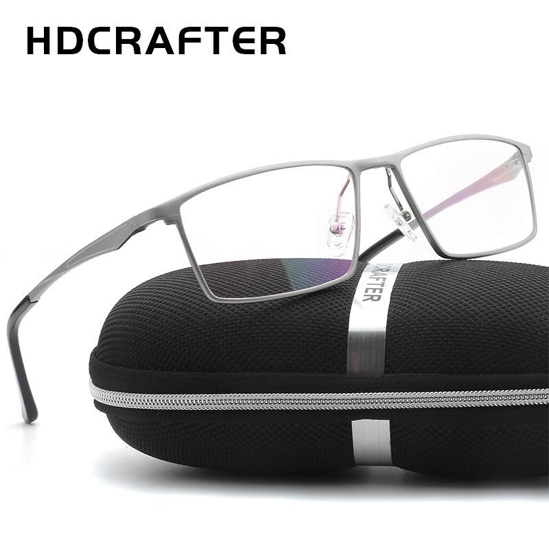 HDCRAFTER Hombres Mujeres Marcos Ópticos Anteojos Marcos Gafas comerciales Anteojos de Moda Marco de Aluminio con Receta