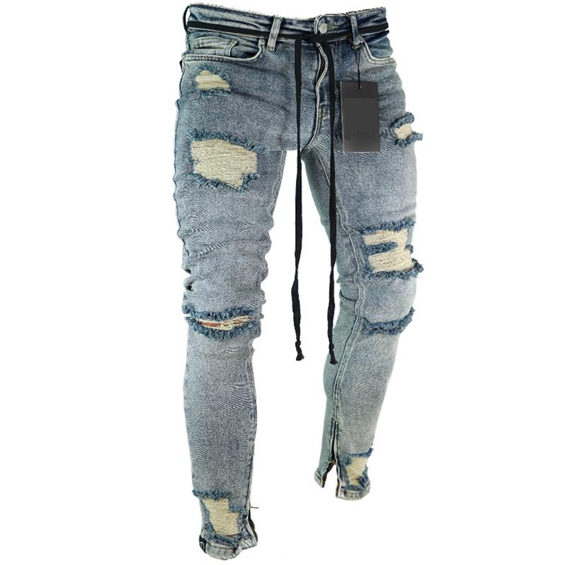 European American Fashion Streetwear Men's Jeans Skinny Fit Destroyed Ripped Jeans Broken Punk Pants Homme Hip Hop Men