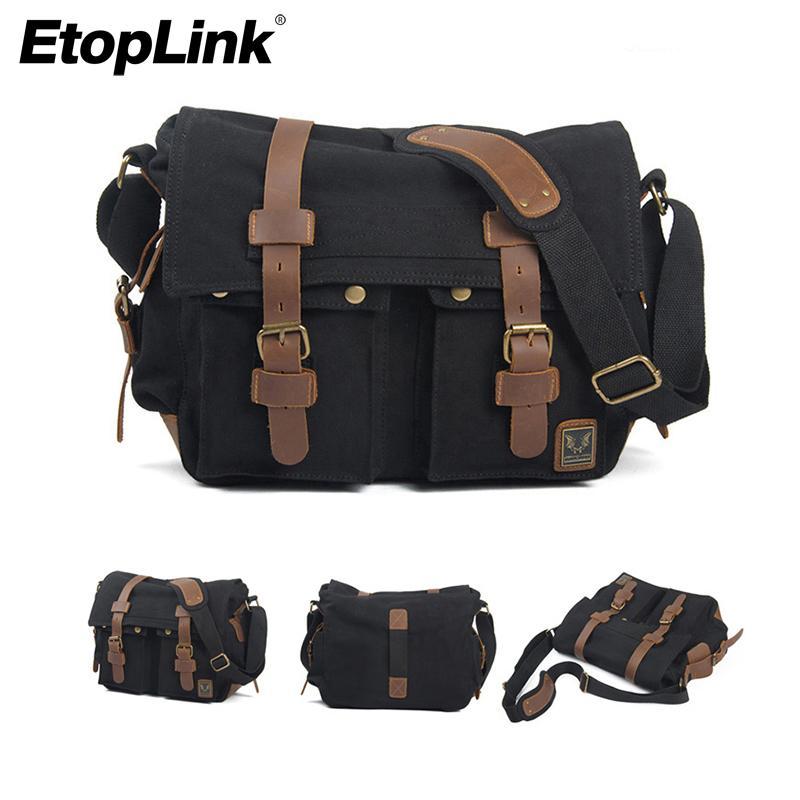 Оптовая холст Vintage DSLR SLR камеры Сумка мужская Vintage холст кожа военная сумка для Canon для Nikon