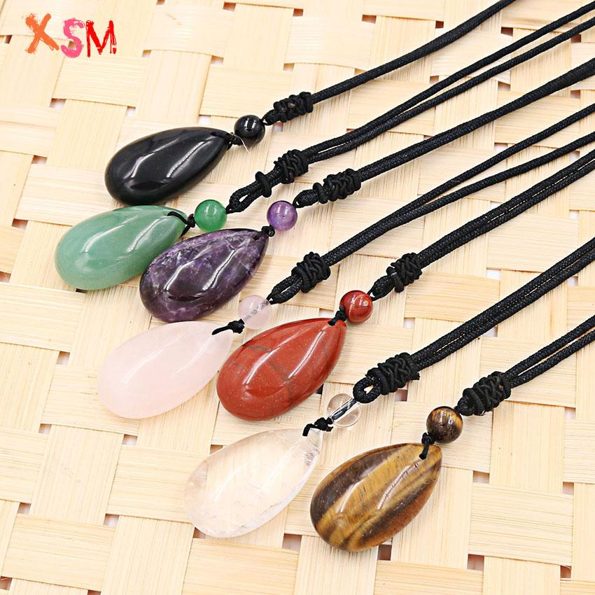 xinshangmie Trendy Hot Sell Natural Stone Amethysts Rose Pink Quartzs Water Drop shape Pendants Necklace For Women Charm Jewelry