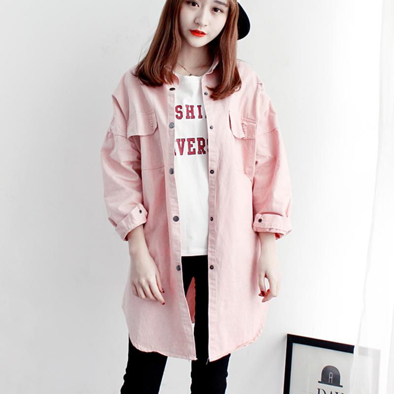 Spring and Autumn Women Windbreaker 2018 New Casual Medium Long Solid Color Large Size Loose Hole Women Windbreaker Jacket NUW15