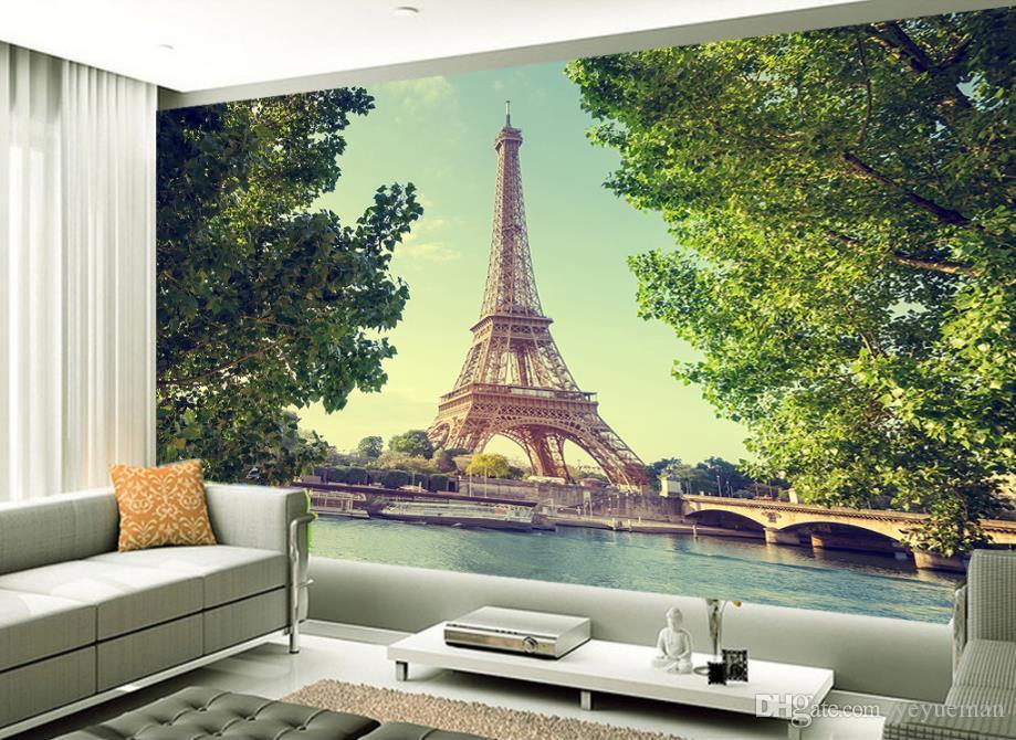 Papier peint de mode européenne papier peint 3D pour salon chambre mur tour eiffel TV fond mur papel de parede