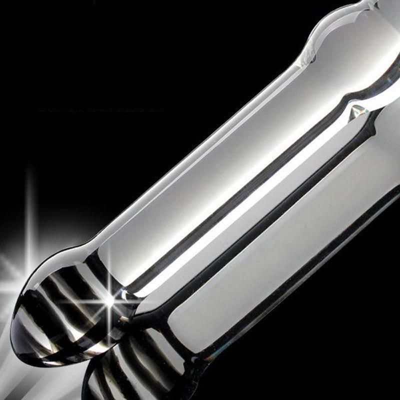 New Double Head Sheer Pyrex Glass Crystal Dildo Fake Penis Sex Toys Anal Butt Plug Vagina Stimulator Female Masturbation Y18102305