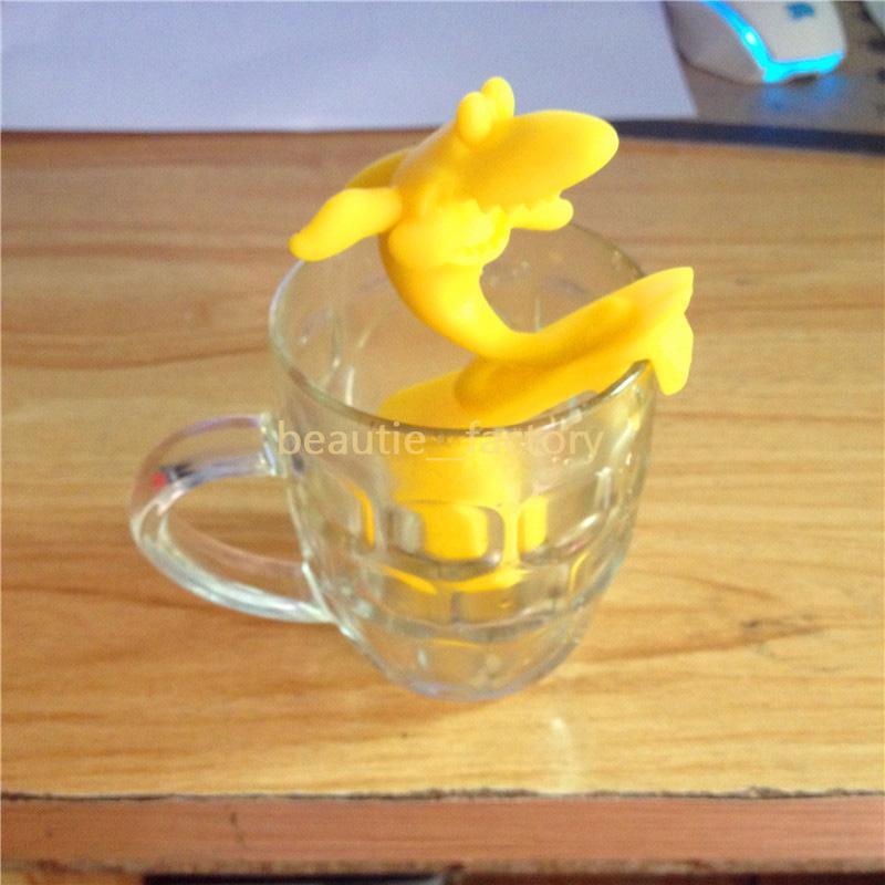 Silikon surfing Rekin Wiszący Herbata Liść Sitko Luźne Narzędzia Kawy Ziołowe Filtr Spice Dyfuzor Party Prezent 7 Kolory