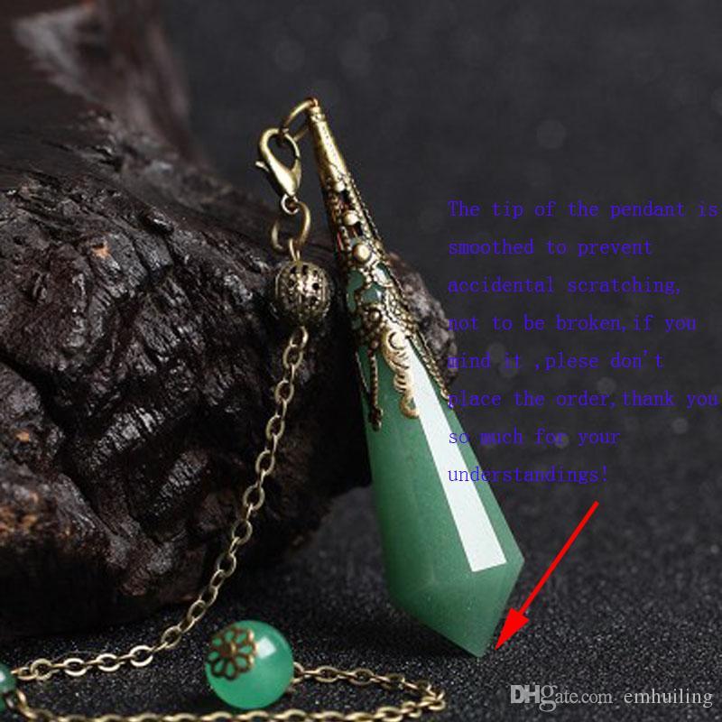 1 Unid Cadena de Latón con Cuarzo de Cristal de Cuarzo Verde Facetado Péndulo de Aventurina Verde Colgante de Piedra de Jade Natural con Cadena de Bronce Antiguo y Fianza