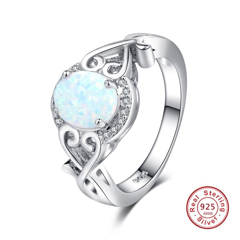 925 Sterling Silver Oval Cut Australia Fire Opal Ring Wedding Engagement Promise Statement Anniversary Mother's Day