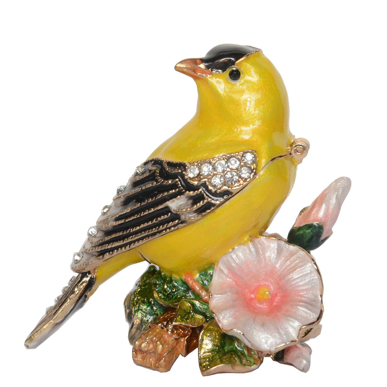 Canary Bird trinket jewelry box Hand painted Metal Treasure Bird Figurine Vintage Decoration Metal Crafts Tabletop