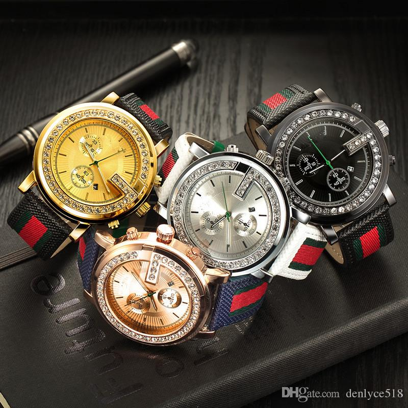 Cinturino in pelle Grande stile cristallo quadrante orologio da polso al quarzo GU13 degli uomini di marca di modo