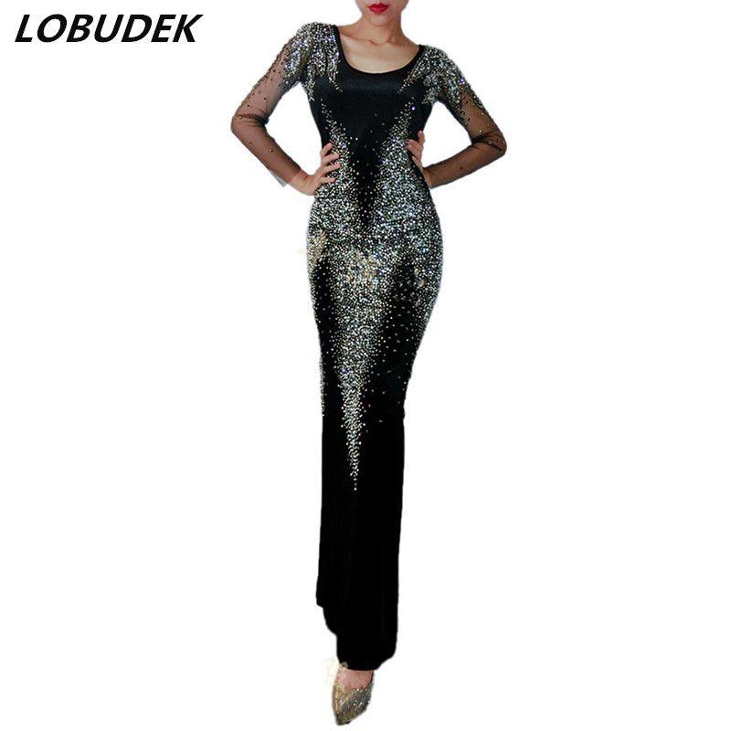 Haut de gamme femmes dos nu robe longue noir strass brillant cristaux robes de soirée discothèque chanteur étoile Prom Catwalk Performance Costume
