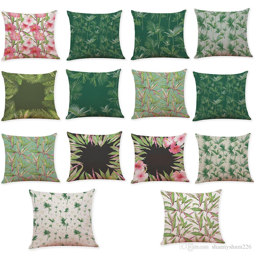 Novelty Tropical Plants Linen Cushion Cover Home Office Sofa Square Pillow Case Decorative Cushion Covers Pillowcases Without Insert(18*18)