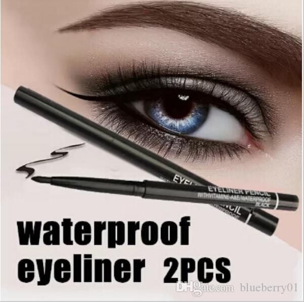 Wholesale- Hot Sale! 2pcs/lot Women Waterproof Retractable Rotary Eyeliner Pen Eye Liner Pencil Makeup Cosmetic Tool 131-0229 free shipping