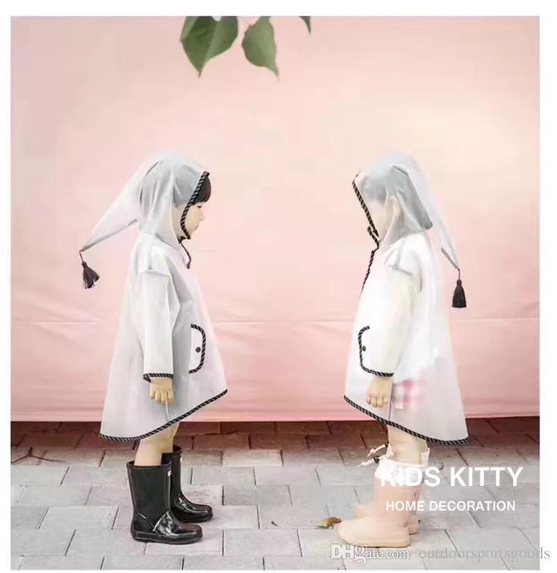 Estilo caliente Ins lindos niños élficos con traje de impermeable seersucker para niños y niñas 15 seda EVA impermeable sombrero puntiagudo gran ala