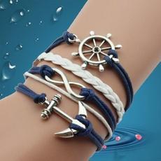 Diy mão-tecido comércio atacado moda antigo navio de prata âncora leme infinito muito pele pulseira handband jóias