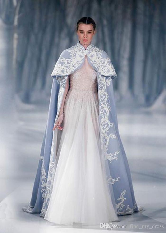 새 긴 소매 Tulle 웨딩 드레스와 케이프 Appiques 새틴 겸손 겨울 공주 긴 신부 가운 레이스 사용자 정의 만든 현대