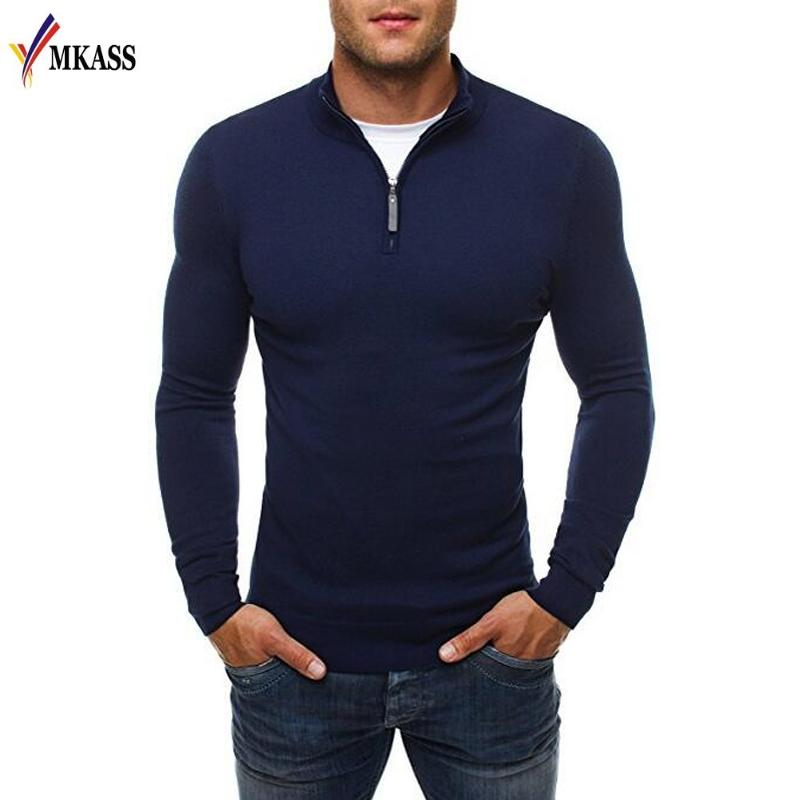 Nowy sweter Sweter Sweter Marka Casual Slim Swetry Klasyczny Zipper High Collar Proste Solid Color Men Polo Sweter 3XL