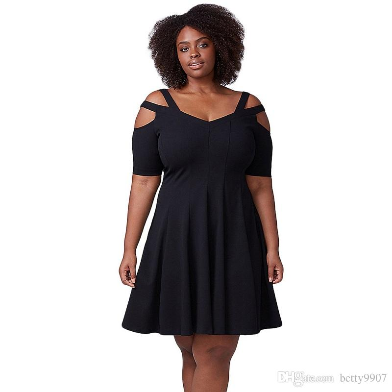 Designer Women Dress Fashion Clothing Plus Size Black Mother's Day Gift Hollow Out Black Strappy Shoulder Fit Flare