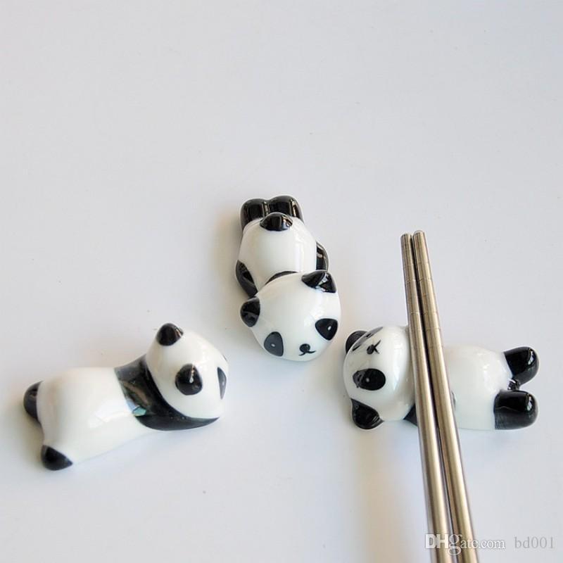 Palillos prácticos y creativos Rack Lovely Panda Shape Exquisito Palillo Holder Ceramics Crafts Pen Stand Venta caliente 1 48aj ff
