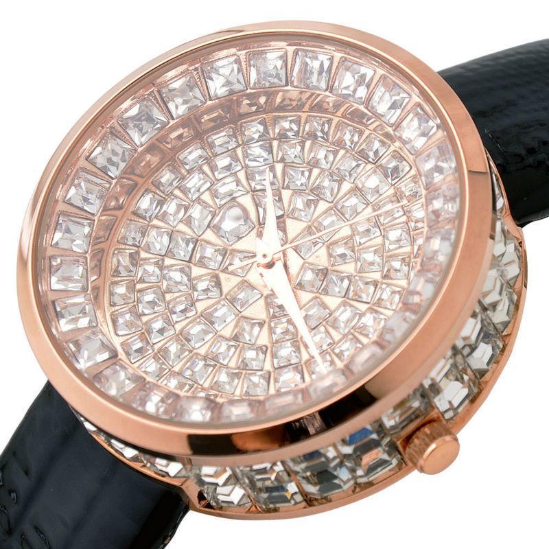 Women GUOU Luxury Watch Bling Genuine Leather Strap Full Crystal Diamond Quartz Ladies Wristwatch Mujer Relojes Casual WatchesY1883103