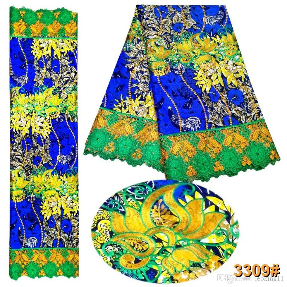 6 Yards/pc Elegant blue cotton fabric with printed flower pattern and green african water soluble lace for dress LBL33-4