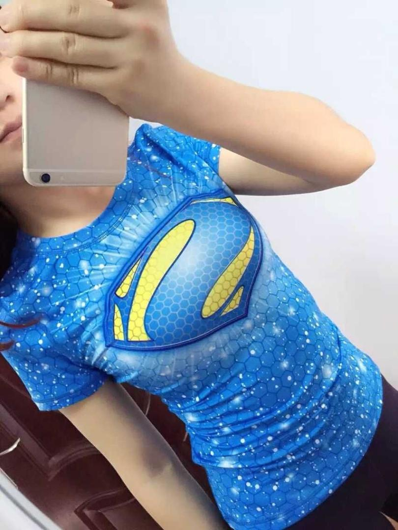 Compression running T Shirt Women Superhero // Sports Tops Quick-drying Tight Sports Wear Woman