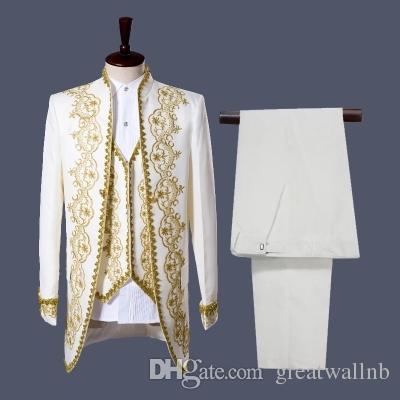 Бесплатная доставка роскошные мужские белый/черный золотой вышивкой генерала князя косплей средневековый старинные куртка/бар/клуб/Студия/этап производительность куртка