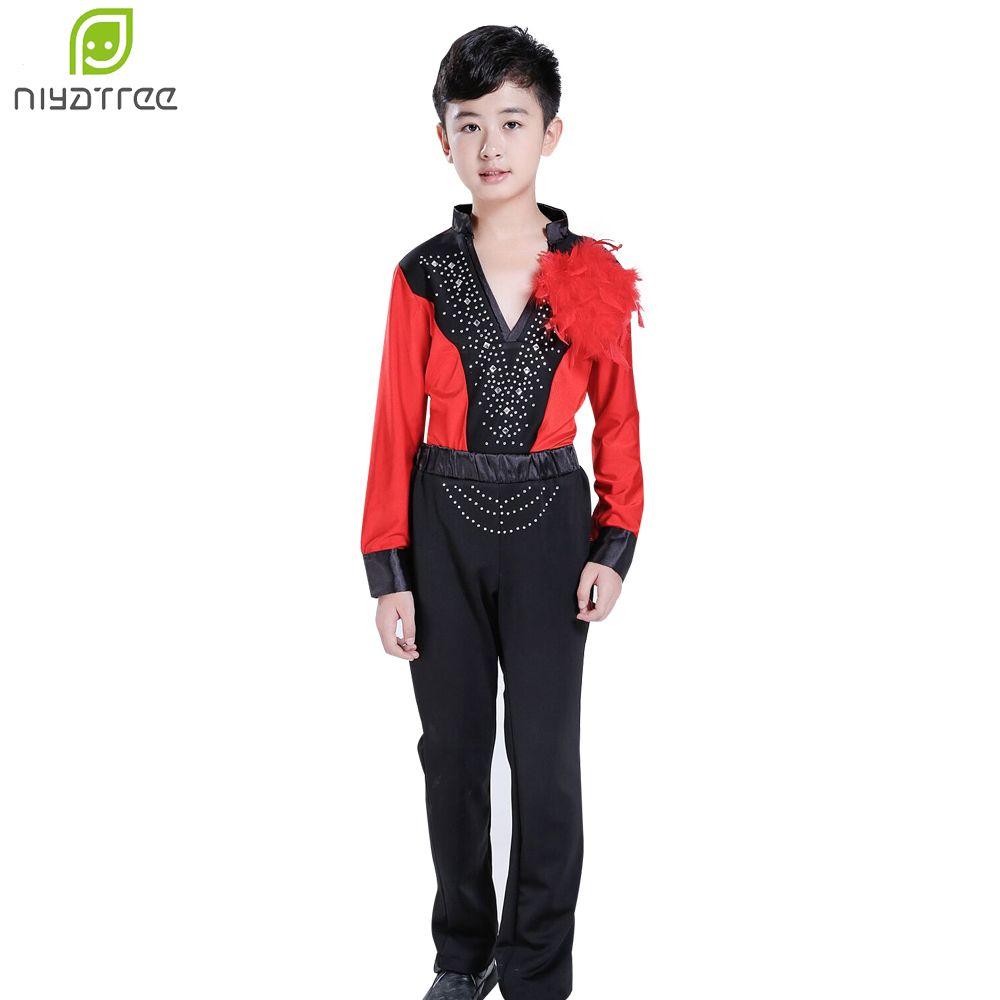 Мальчик современный латинский танец одежда набор мужская бальная рубашка конкурс танцевальная одежда Красное танго практикующих рубашка и брюки