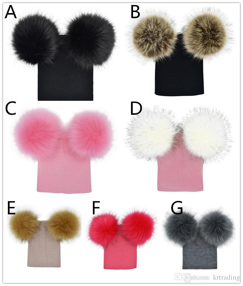 Kids knitted hat big double pompons knitting baby hat 7 colors for 6m-5T boys girls cute pompons ins hot