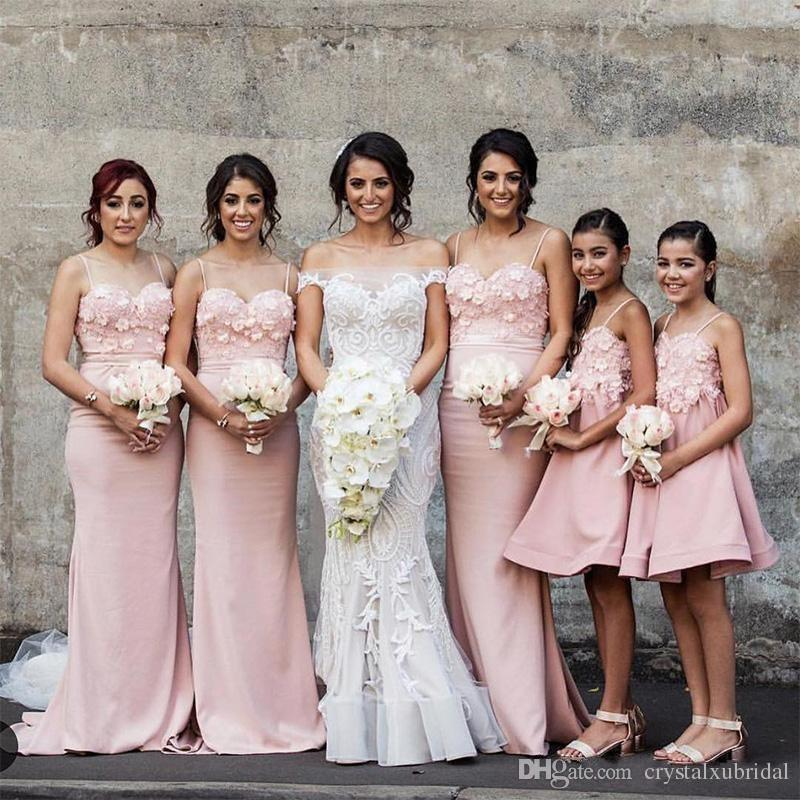 Bridesmaid Dresses For Weddings 2018 Arabic Blush Pink Spaghetti Straps Lace Appliques 3D Flowers Mermaid Long Plus Size Maid of Honor Gowns