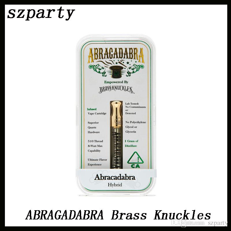 ABRAGADABRA Brass Knuckles Cartridges Atomizers Dual Cotton Coil 0.5ml 1.0ml Capacity Gold Mouthpiece with Acrylic Box DHL 0266215