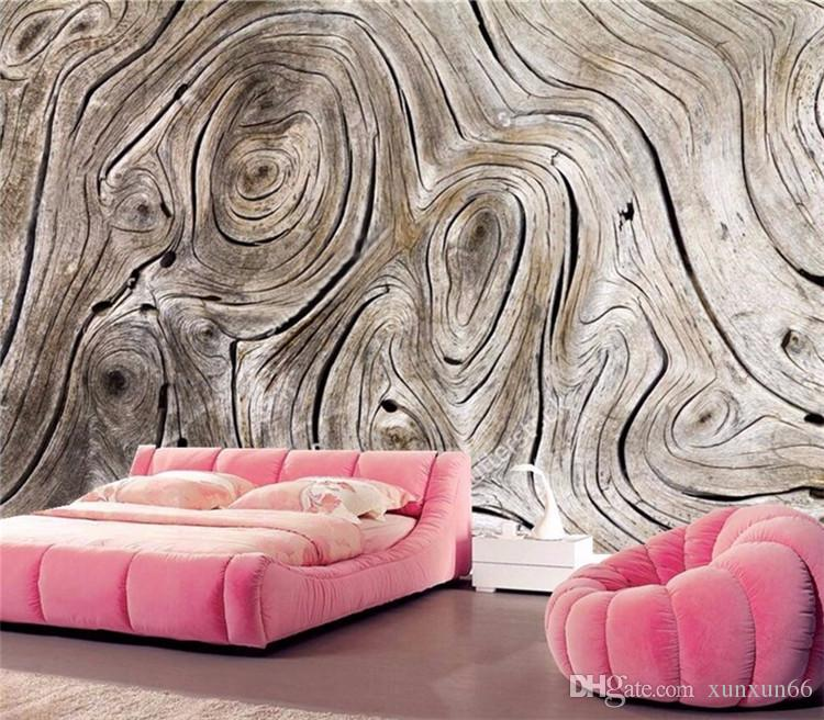 Personnalisé Murale Papier Peint Non-tissé Rétro En Bois Grain Abstrait Art Peinture Salon Canapé TV Fond Photo Mur Papier 3D