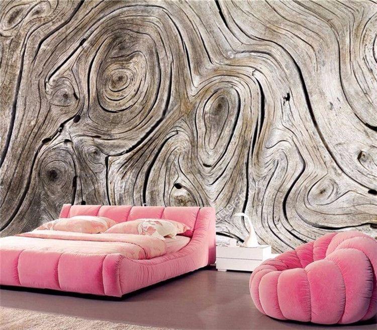 Personalizado Mural de pared No tejido Papel pintado Retro Grano de madera Arte abstracto Pintura Sala de estar Sofá TV Fondo Foto Papel de pared 3D