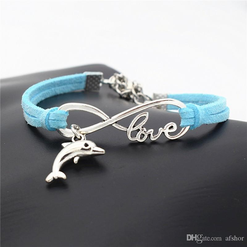 Women Men Girls Multilayer Blue Leather Braided Bracelets With Infinity Love Dolphin Pendant Shape Decorations 10 Colors New Fashion Jewelry